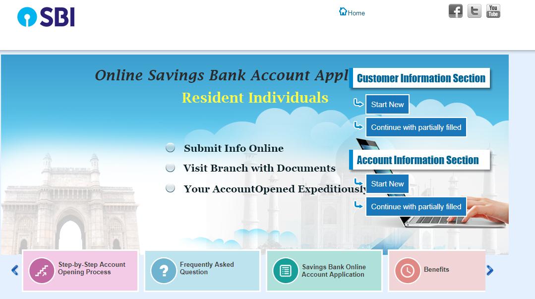 SBI bank online account opening