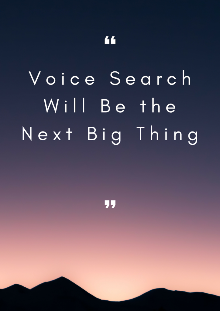 Voice Search will be the next big thing