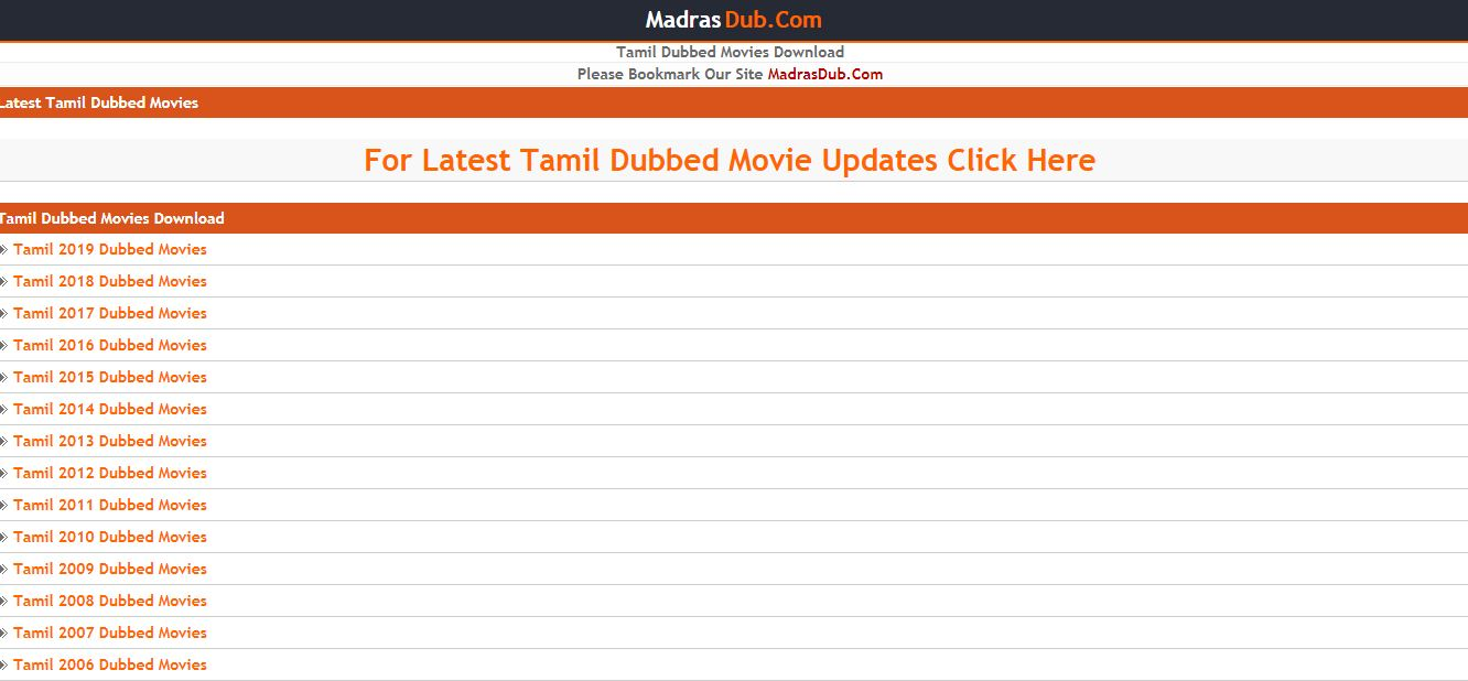 MadrasDub Tamil Dubbed movies download site