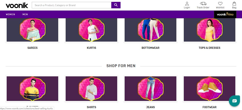 Voonik Clothing categories