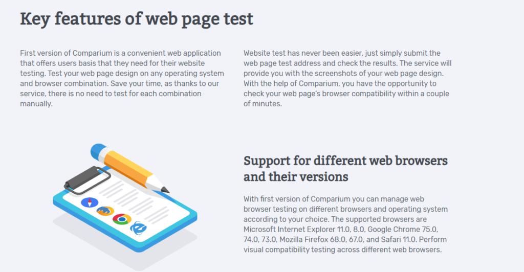 Key Features of Comparium Website Testing Tool